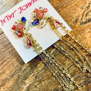 BETSEY JOHNSON: Floral Crystal Chain Earrings